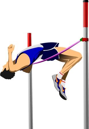 personas saltando: Ilustraci�n vectorial de un saltador de altura aislado en el fondo blanco