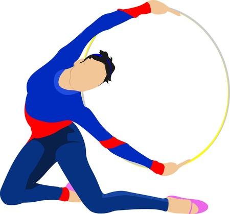gymnastic girl: Girl with gymnastic hoops  Vector illustration