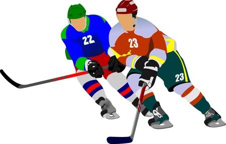 hockey rink: El hockey sobre hielo jugadores ilustraci�n vectorial para dise�adores