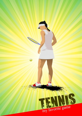 Woman tennis poster  My favorite game  Vector illustration