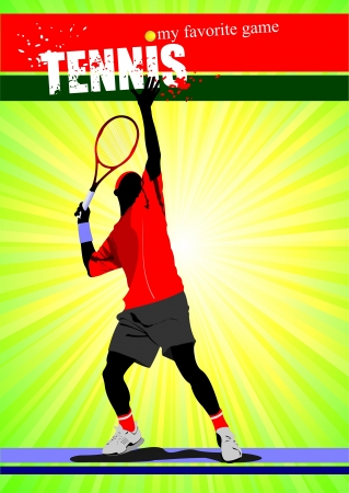 Man tennis poster  My favorite game  Vector illustration Vector