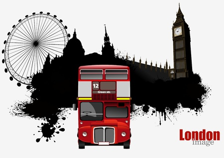 tourist: Grunge London images with buses image. Vector illustration