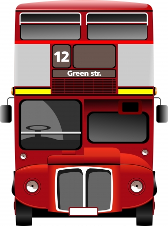 old bus: London double Decker  red bus. Vector illustration