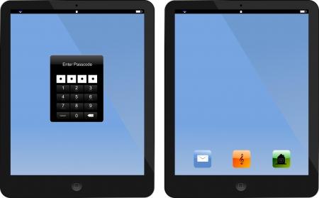 locked: Locked and unlocked tablet PC.
