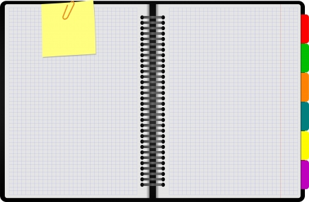 spiral notebook: Black Notebook open on white background with pencil. Vector illustration