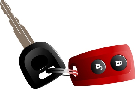 Car  ignition key with red remote control isolated over white background . Vector illustration.