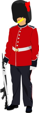 bayonet: Vector image of beefeater isolated on white