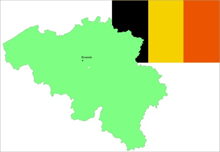 Belgian flag and map, vector illustration set. Vector