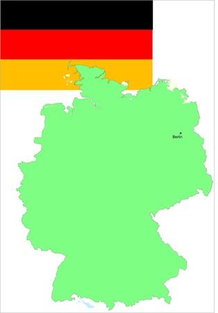 deutschland: Germany, Deutschland flag and map, vector illustration