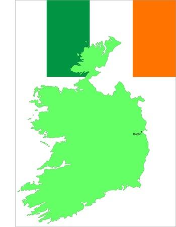 ireland map: Rep. Ireland flag and, vector illustration