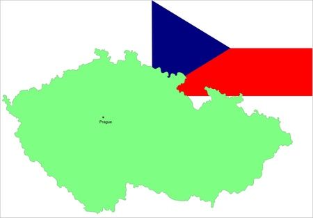 Czech Republic flag and map. vector illustration Vector
