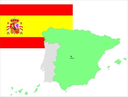 bandiera spagnola: Spagna, bandiera spagnola e la mappa, illustrazione vettoriale set.