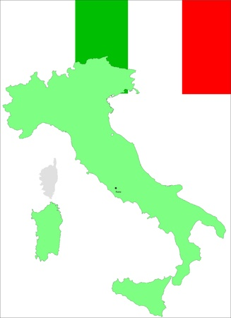Italy, Italian flag and map, vector illustration Stock Vector - 18276389