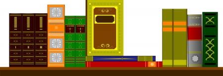 bookshop: Vector illustration bookshelf library with books