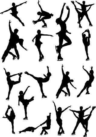 speed skating: Big set of figure skating black and white silhouettes. illustration