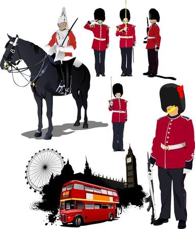 bus anglais: Grande collection de l'image de Londres. Vector illustration