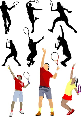 tennis serve: Tennis player. Colored Vector illustration for designers