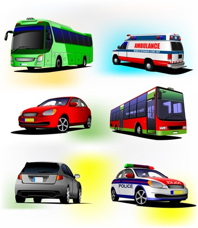 ambulance car: Collection of municipal transport images. Vector illustration