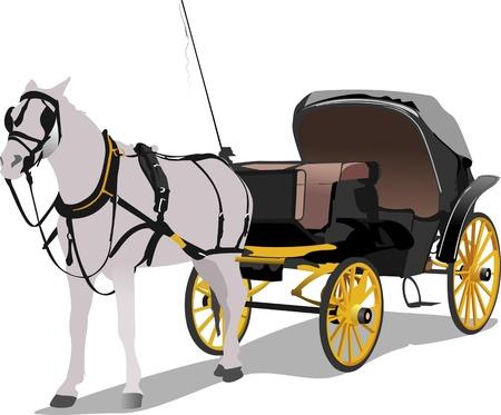 hand cart: Vintage carro y el caballo. Ilustraci�n vectorial