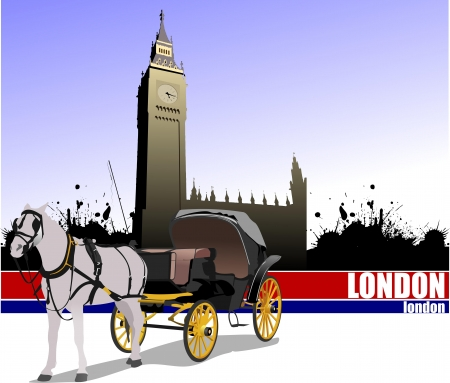 Vintage carriage and horse on London background. Vector illustration  Vector