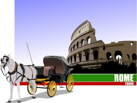 Vintage carriage and horse on Rome background. Vector illustration Stock Vector - 18276505