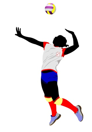 beach game: Women volleyball silhouette. Vector illustration