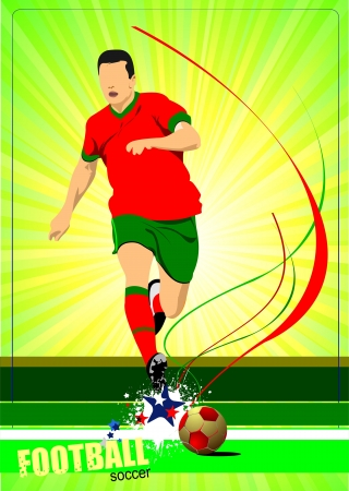 Soccer player poster. Football player. Vector illustration Illustration