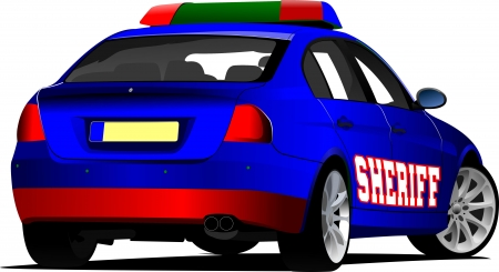 a patrol: Sheriff`s  car. Police. Vector illustration.