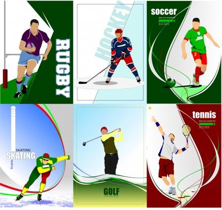 Sechs sport Plakate. Fußball, Eishockey, Tennis, Fußball, Rugby, Golf, Eislaufen. Vector illustration Illustration