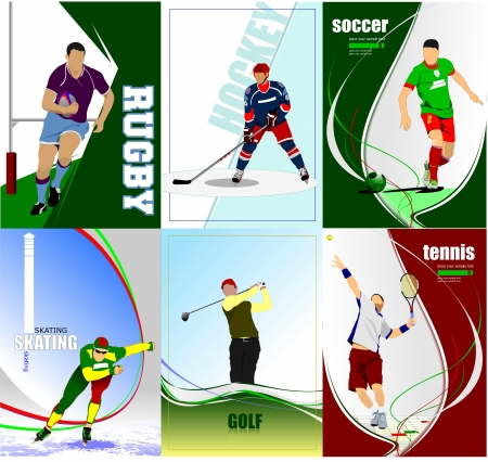 Six sport posters. Football, Ice hockey, tennis, soccer, rugby, golf, skating. Vector illustration Illustration