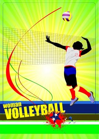 pelota de voleibol: Voleibol Femenino cartel. Ilustración vectorial