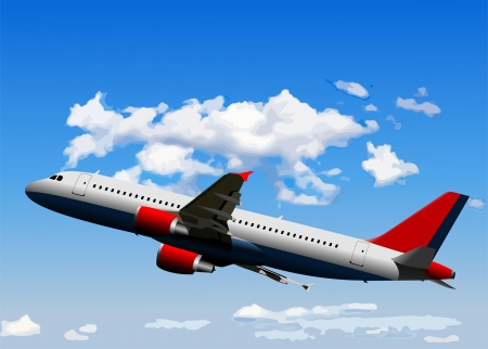 air traffic: Airplane on the air. Vector illustration
