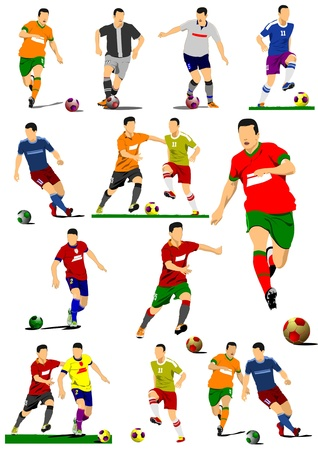 Big collection of soccer players. Football players. Vector illustration Illustration