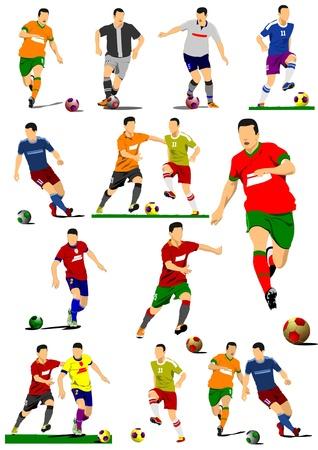 jugadores de soccer: Gran colecci�n de jugadores de f�tbol. Los jugadores de f�tbol. Ilustraci�n vectorial