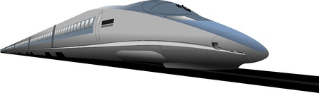 high speed railway: Shinkansen bullet train.  illustration