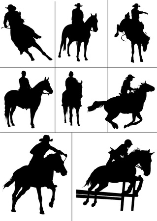 cowboy on horse: Horse riders silhouettes.  illustration