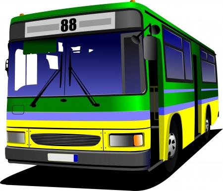 tourist bus: Green-yellow city bus.  Illustration