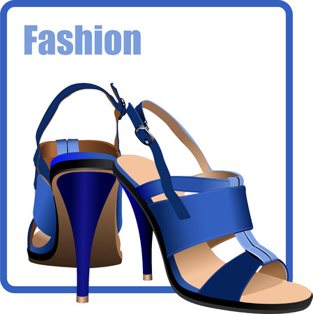 zapatos azules: Moda mujer zapatos azules poster. Ilustraci�n vectorial