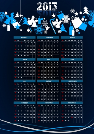2013 calendar with Christmas images  Vector illustration  Vector