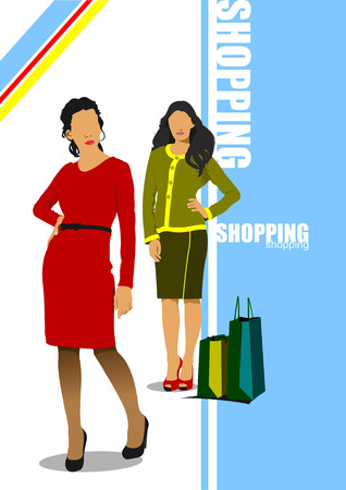 top clothing: Two cute shopping ladys with bags  Vector colored illustration Illustration