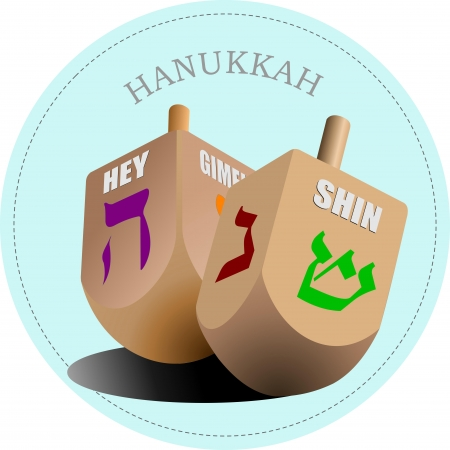 dreidel: Couple of dreidel as element of Hanukkah festival  Vector illustration
