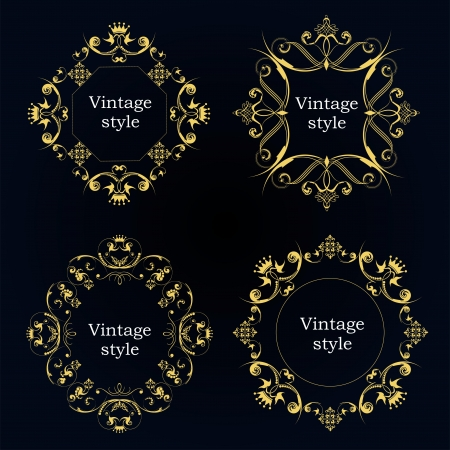 vector sample: Collection of four vector frames with sample text
