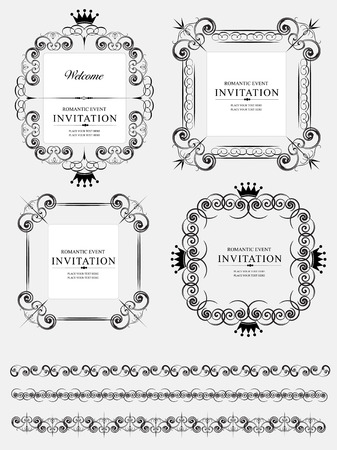 ornaments vector: Collection of vector frames and ornaments with sample text