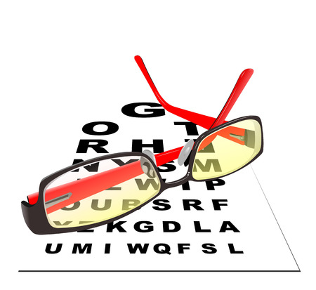 eye exams: Glasses for reading with table for eye exams  Eps 10 Vector illustration Illustration