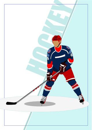 ice hockey player: Ice hockey player poster. Vector illustration
