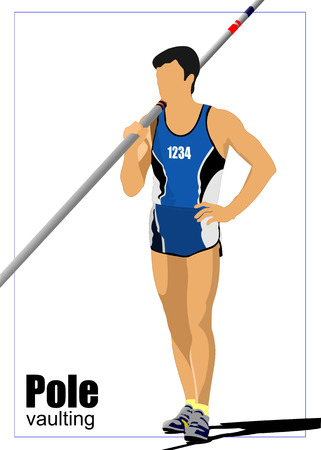 track and field: Athlete pole vaulting. Track and field. Vector illustration.