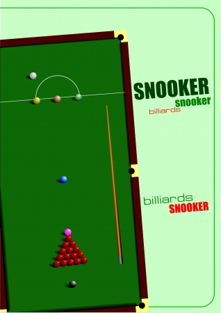 pool hall: Snooker table and cue poster  Billiards  Vector illustration Illustration