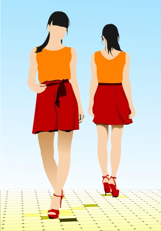 Two girls walking along the street. Colored Vector illustration Vector