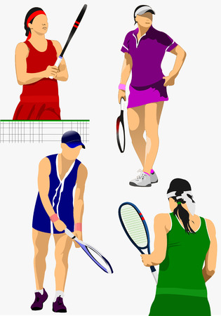 Collection of woman tennis players. Colored Vector illustration for designers Vector