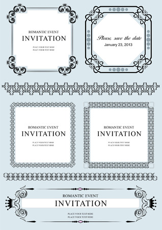 Collection of vector frames and ornaments with sample text.  Vector